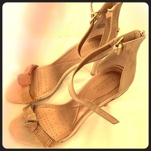 Cream suede heeled sandals